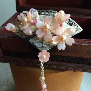 喵 喵 hand-made retro ~ wind cherry hairpin / cherry blossom fun (powder)