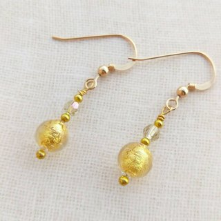 [Venetian Glass Beads] 24kt Gold Foil Murano Glass Beads Earrings with Swarovski Crystals (Clip-on Available)