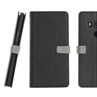 CASE SHOP HTC U11 Eyes Wood Grain Side Lift Stand Leather Case - Black (4716779659320)
