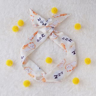 This hand made original handmade sleeping cat rabbit ear hair band