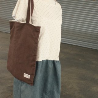 Double-sided brown cotton linen green bag