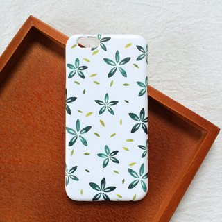 Watercolor hand painted flower green phone shell hard shell iPhone Android