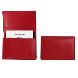 LAPELI │ plain denim business card holder red