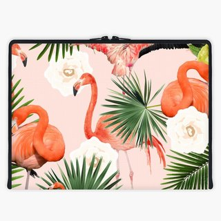 Axis - Custom 3-Sided Zipper Laptop Sleeve - Flamingo Guava