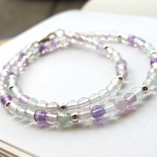 [Firefly] Fluorite x 925 Silver (Double Circle Bracelet) - Handmade Natural Stone Series