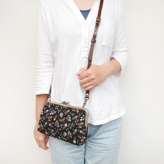 Wall flower girl two grid shoulder bag / mobile phone bag / mouth gold package [Made in Taiwan]