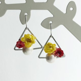 Real flower Chrysanthemum earrings with S925 silver