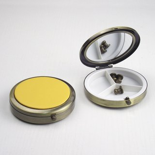 Customize your color portable pill box carry-on mirror round leather metal storage box bronze