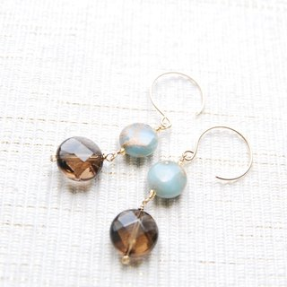 Coin-shaped stone earrings Smoky Quartz (14 kgf)