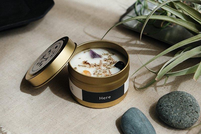 CLEAR&CREATE 水晶花草能量香氛蠟燭90g 藍鼠尾草