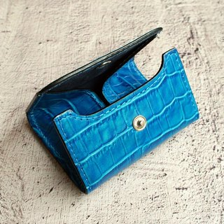 Slim Leather Wallet Blue Water Luxury Crocodile
