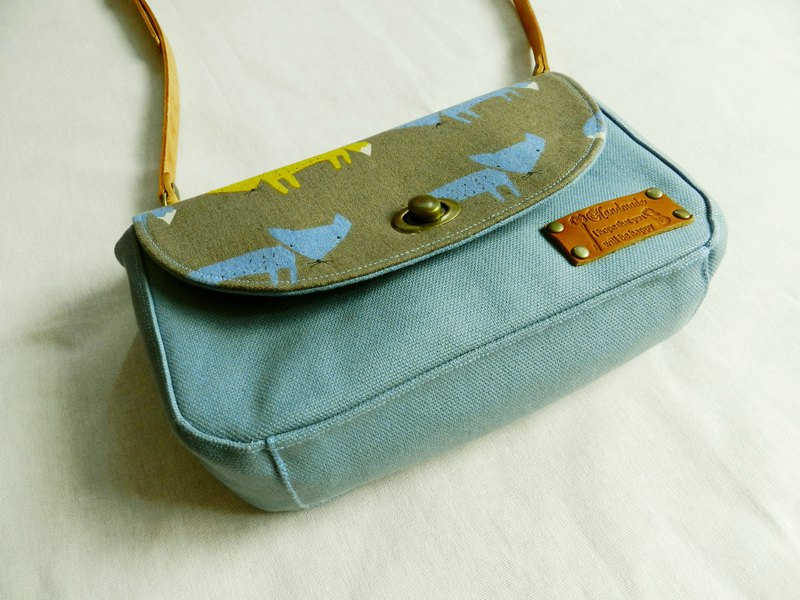 Japan No. 8 canvas series ~ Fox small travel with three-layer cross body bag / shoulder bag / passport bag