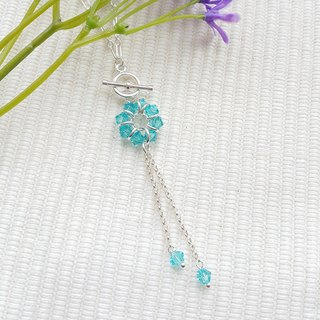 Clear Blue Hanging Crystal Necklace