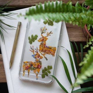 Pressed Flower Phone Cases- Deer (Embracing One another) Collection for iphone X/8/8plus/ 5/5s/SE/6/6s/6 plus/6s plus/7/7plus/Samsung S4/S5/S6/S6Edge/S7/S7Edge/S8/Note3/Note4/Note5/Note8