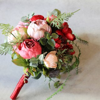 Hand-tied bouquet of artificial flowers [series] natural style red bouquet