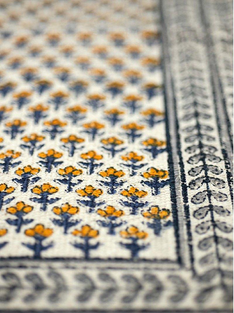地球樹公平貿易fair trade -- 手織木刻印小黃花地墊(大)
