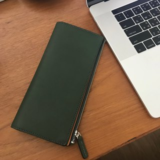W leather wallet /Green
