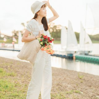 White Tubia crochet bag