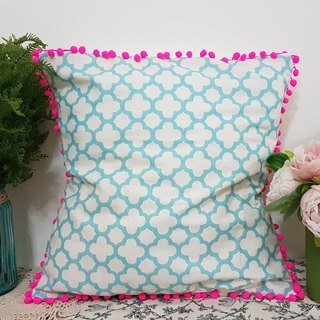 Scandinavian style sky blue geometric pattern fluorescent pink hair ball pillow / pillow