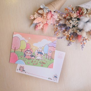 Pink Forest Picnic / ChiaBB Illustrated Postcard