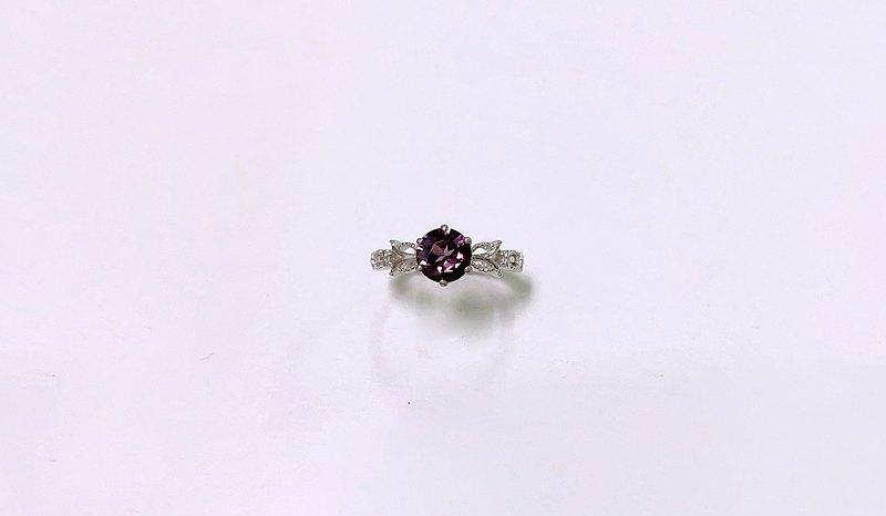 斯里蘭卡 深紫紅尖晶戒指 925純銀 手工鑲嵌
