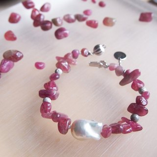 Nature Tourmaline - October Birthstone with nature freshwater pearl bracelet