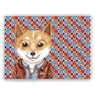 Hand-painted illustration universal card / postcard / card / illustration card - retro tile 08 + leather Shiba