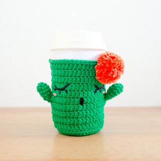 Crochet Cozy Cup - The Green Cactus / Coffee Sleeve, Starbuck.