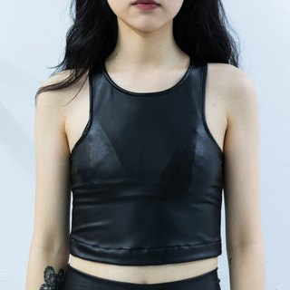 Dark black leather short vest
