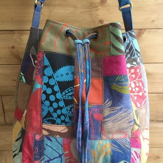 Patchwork bucket bag handmade serigraphy