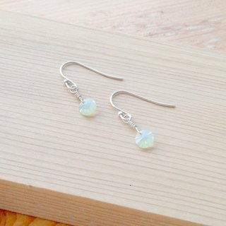 Minimalist Series - Magic Green Turquoise - Opal - 925 sterling silver hand-made earrings Free clip-on silver gift packaging