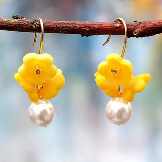 14kgf  .Yellow Flower  pearl earrings . Yellow . Brilliant Elegant. Gift for Her