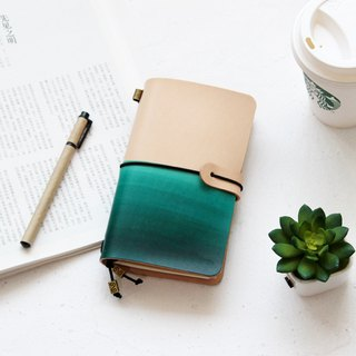Dark green white gradient leather work pocket leather travel pocket leather notebook customized gift