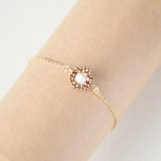 cotton pearl hexagon bracelet bronze
