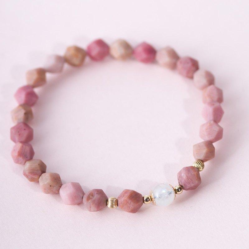 幾何薔薇輝石 月光石14K包金手鏈 | 天然石客製化禮物手鍊