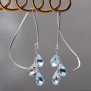 SV935(Argentium)- skyblue topaz half curl pierced earrings