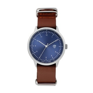 Harold series silver blue dial brown leather watch