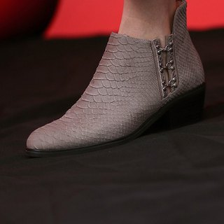 Hook-and-lace trim low heel leather ankle boots like gray