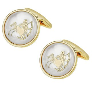 White Mother of Pearl Sagittarius Gold Cufflinks