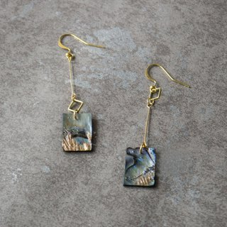 geometry. Brass Natural Abalone Shell Square Long Earrings