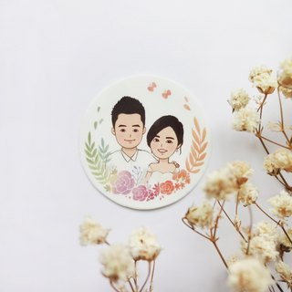 Portrait wedding round stickers | Customized