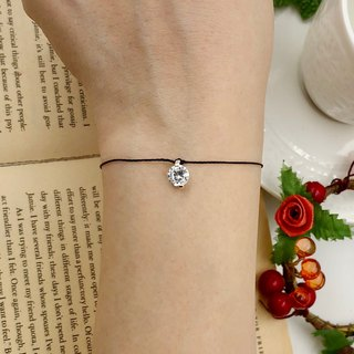 *Le Bonheur Line happiness line*925 sterling silver claw set with a large bare diamond 7mm super shiny fire / red line hand drill redline diamond loose diamond red rope black line black rope
