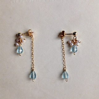 14kgf Sky Blue Topaz AAA + Vintage Pearl Back Catch Earrings