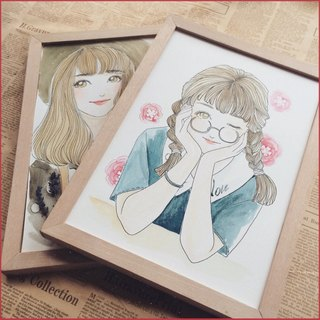 ◆ SS. Yan Feng Hua @ 10-inch single (hook line style) custom watercolor hand-painted photo cartoon portrait painting