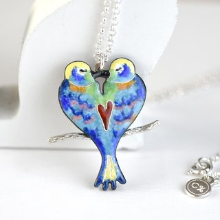Love Bird (珐琅Clocked Silver Necklace Silver Valentine's Day Gift) ::C% Handmade Jewelry::