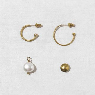 Simple four-in-one pearl earrings set
