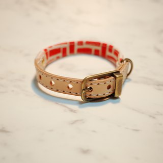 Dog & Cats collars, S size, Red Brick with Japan Fabric