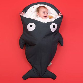 [Spanish] Shark bite a BabyBites cotton baby multi-purpose sleeping bag - cool limestone