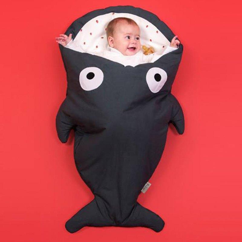 BabyBites鯊魚咬一口純棉嬰幼兒多功能睡袋-酷灰岩