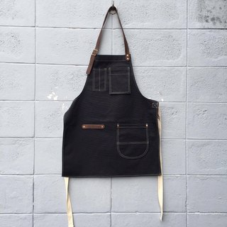 New Black Canvas Apron no.04 Copper rivets one pockets Neck Leather / barista
